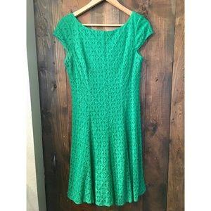 Green Cap Sleeve Lace Dress